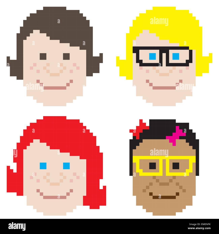 Visage Fille Pixel Art Vecteurs Et Illustration Image