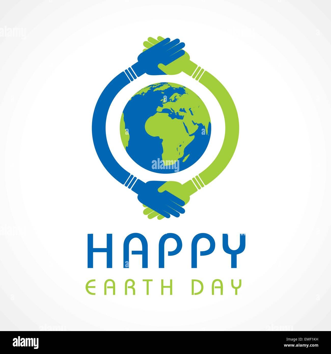 Le jour de la terre heureuse création vecteur stock Souhaits Photo Stock