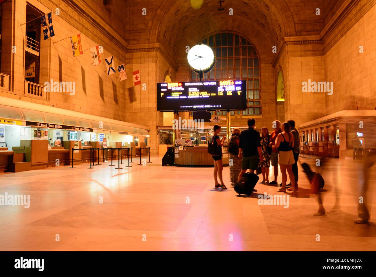 La nuit de la gare Union, Toronto, Canada Photo Stock