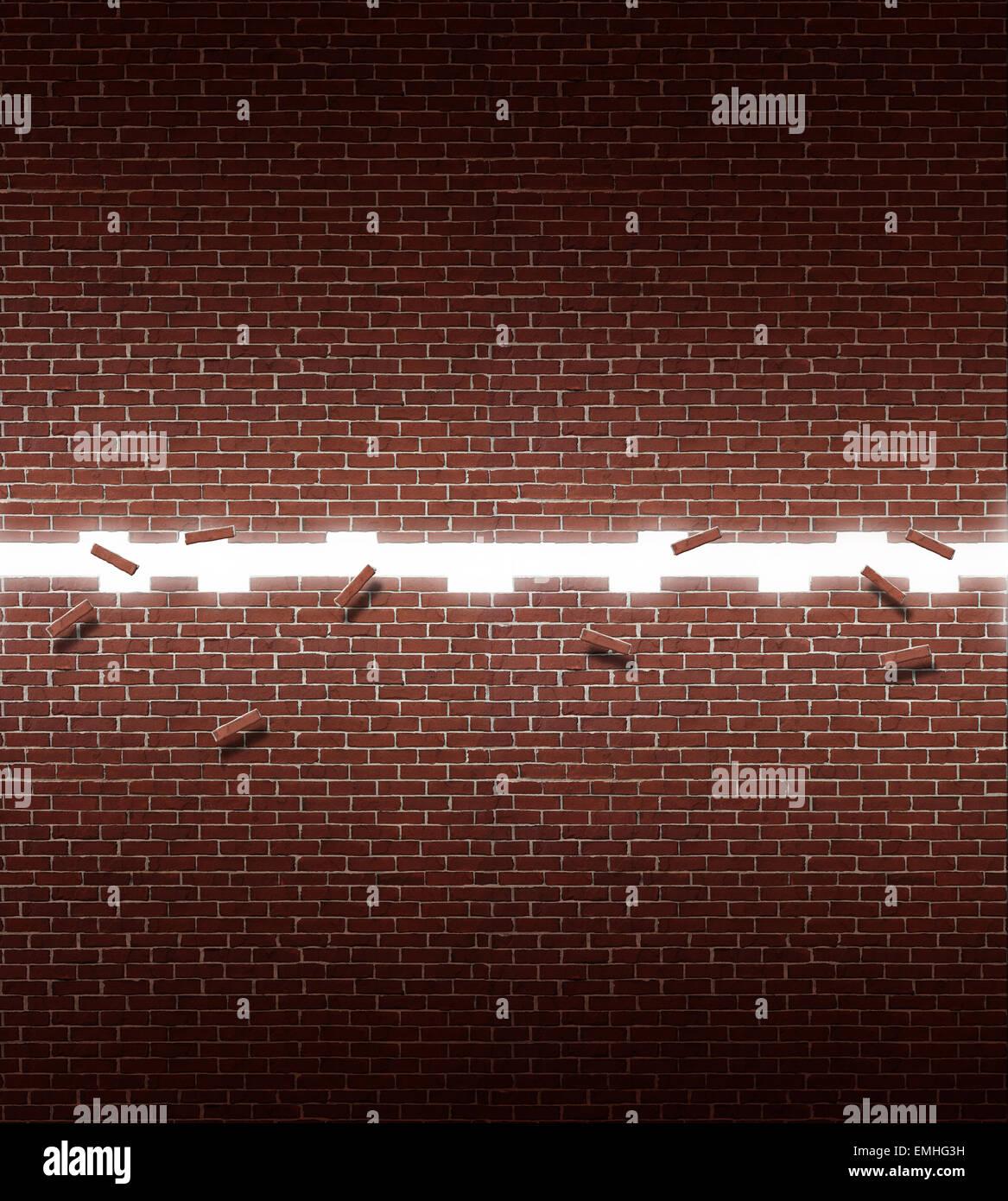 Mur ouvert la réussite de l'entreprise concept avec une structure en brique d'ouverture comme un symbole Photo Stock