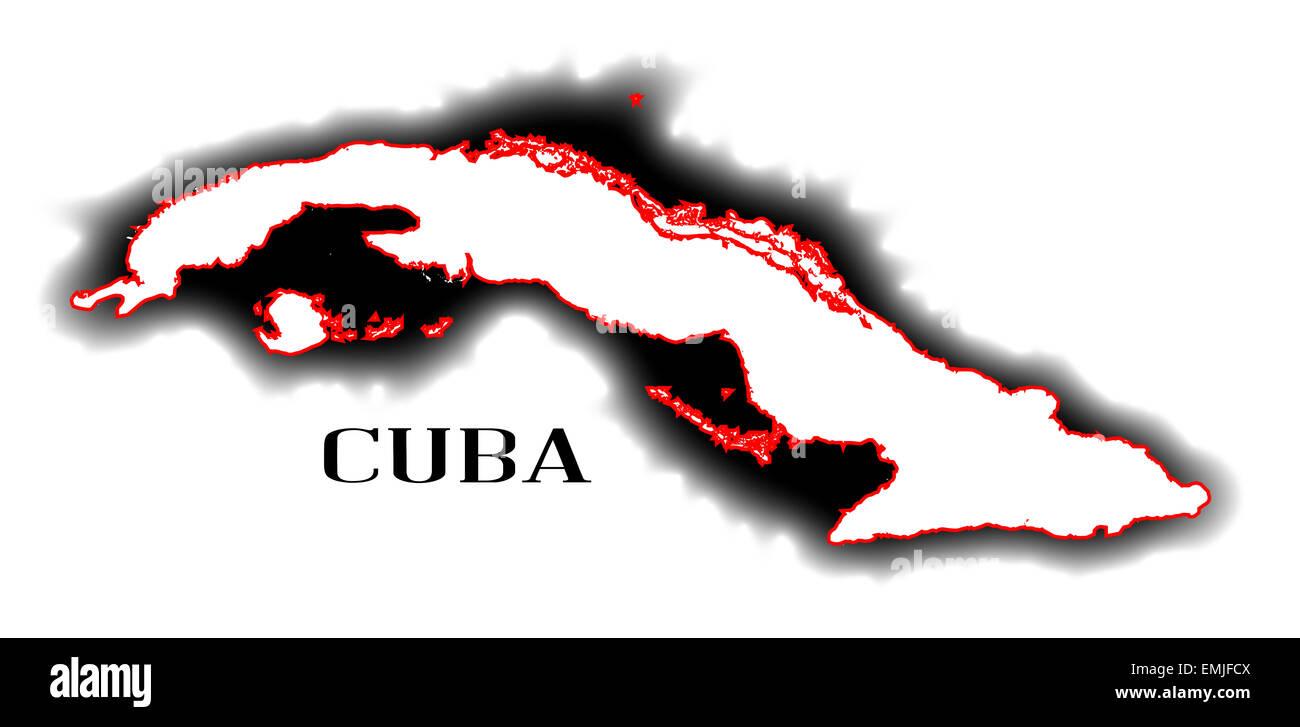 Carte Cuba Amerique.Contours De Carte Vide Le Pays De L Amerique Du Sud De Cuba Banque D