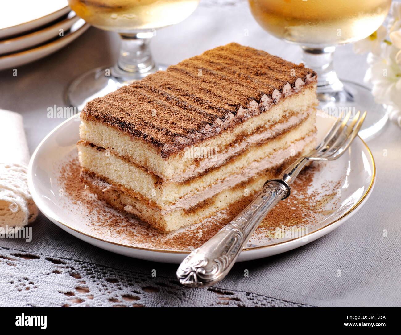 Tiramisu fait maison, un dessert italien traditionnel Photo Stock