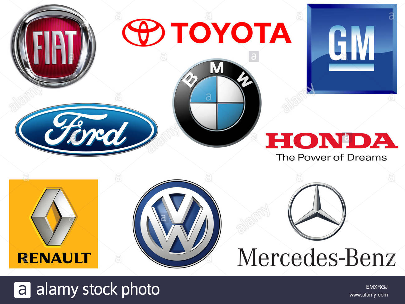 GM Toyota Volkswagen BMW Mercedes Ford General Motors Honda logo Renault Daimler Fiat icône Photo Stock