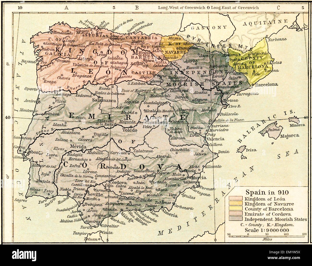 Carte De Lespagne Barcelone.Carte De L Espagne En 910 Montrant Les Royaumes De Leon Et De La