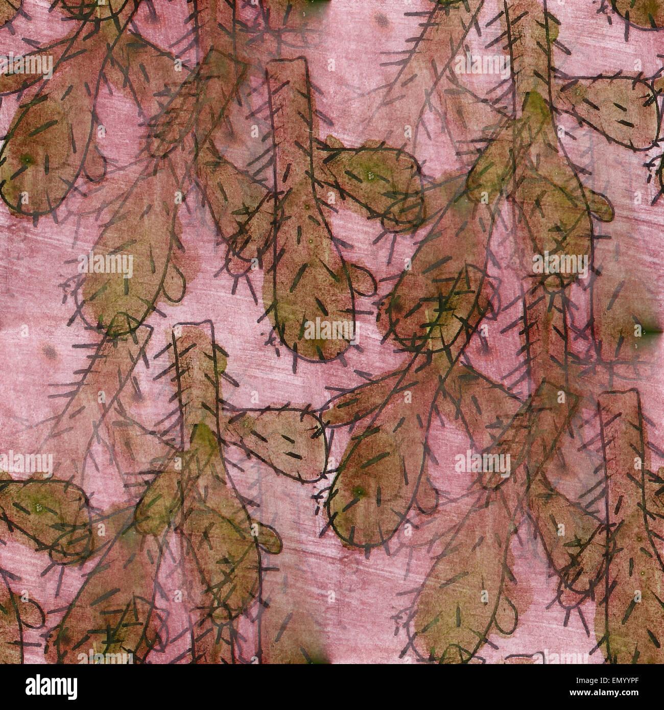 Seamless Texture Papier Peint Fleurs Aquarelle Cactus Vert Banque D