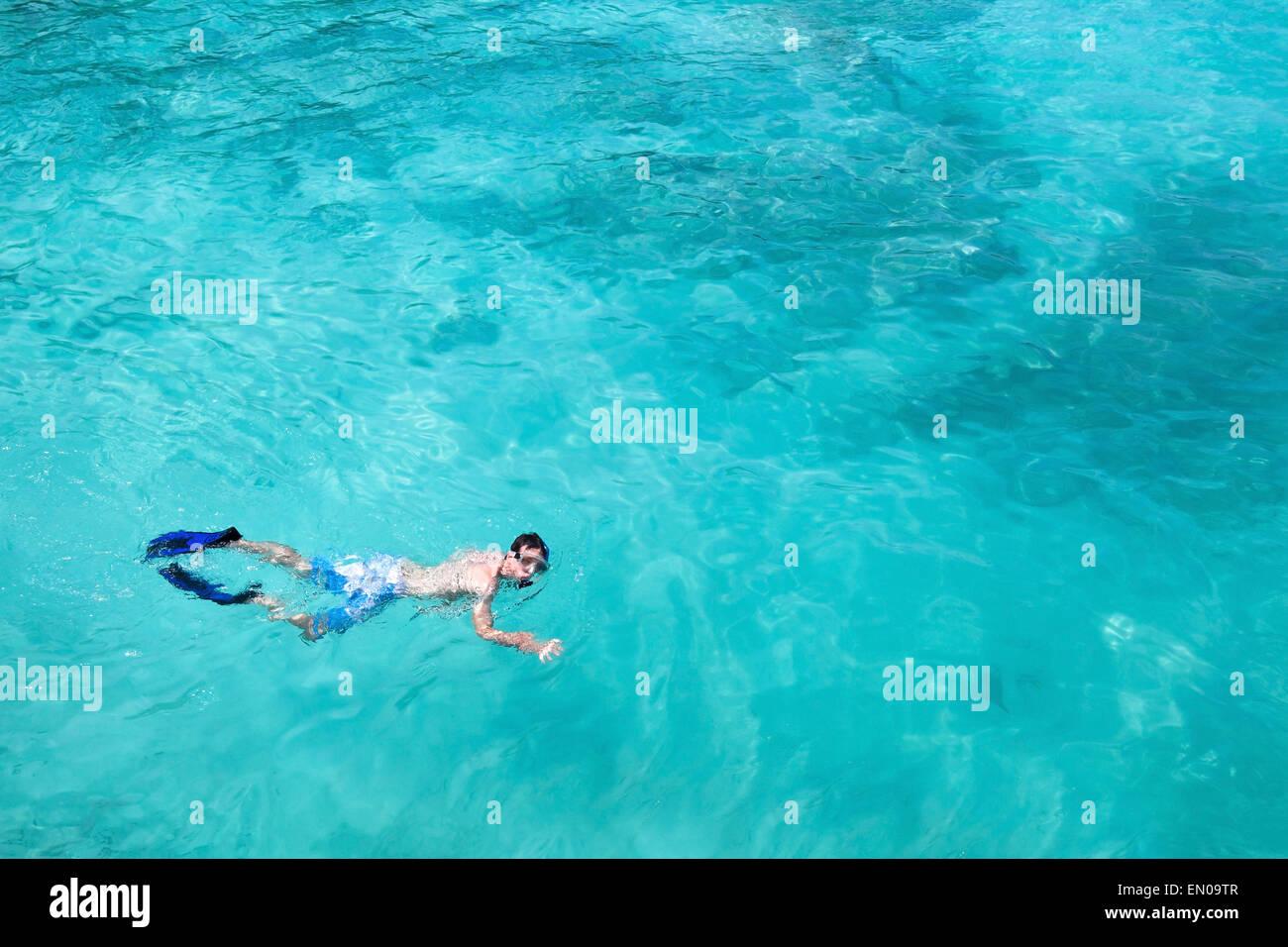 Plongée avec tuba, vue du dessus de l'homme nage avec palmes et masque, copy space Photo Stock