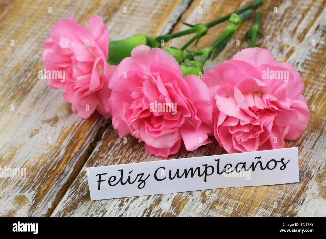 Feliz Cumpleanos Joyeux Anniversaire En Espagnol Carte Avec Des