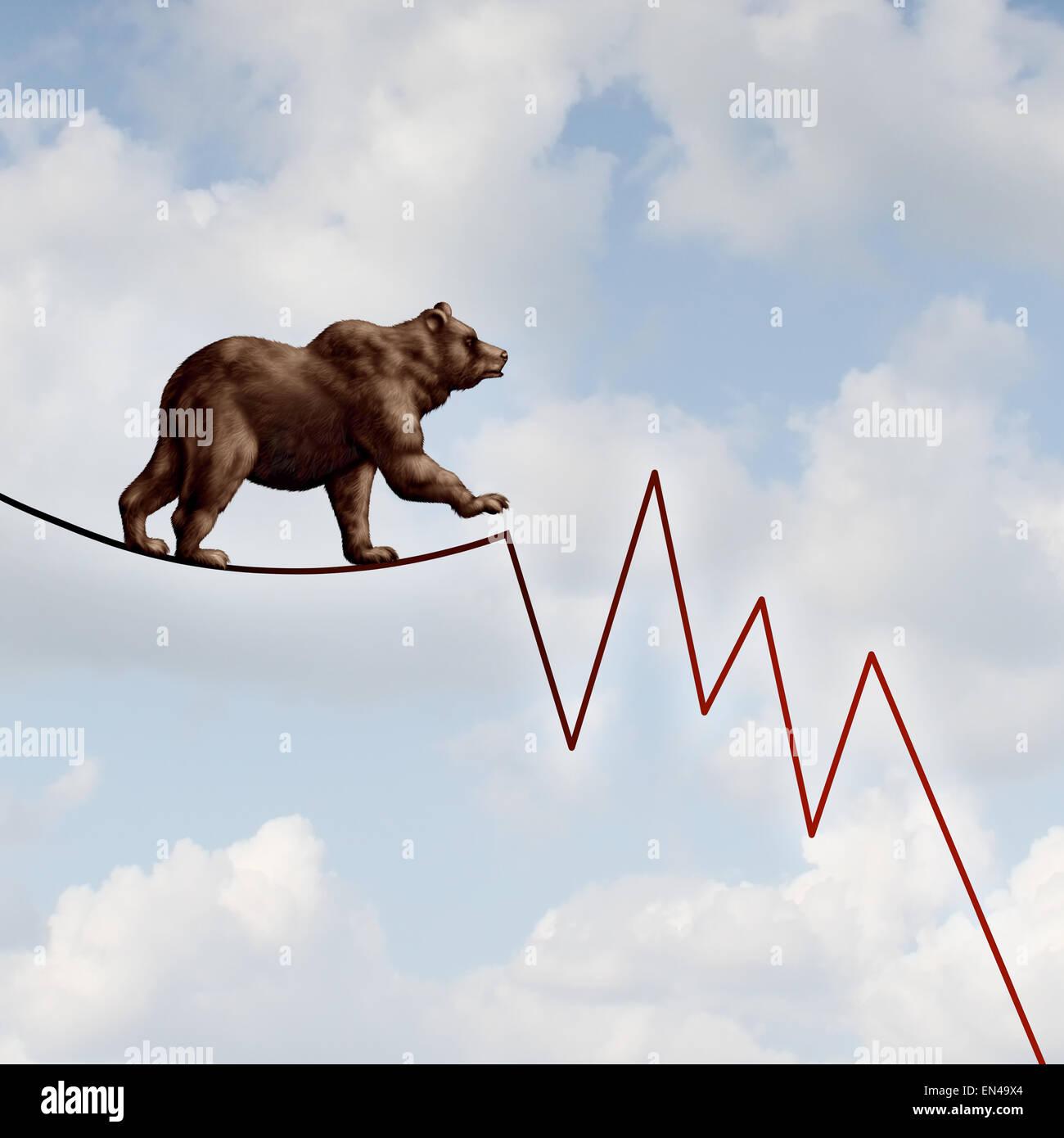 Marché de l'ours comme un concept financier risque baissier lourde bête marchant sur un fil en forme Photo Stock