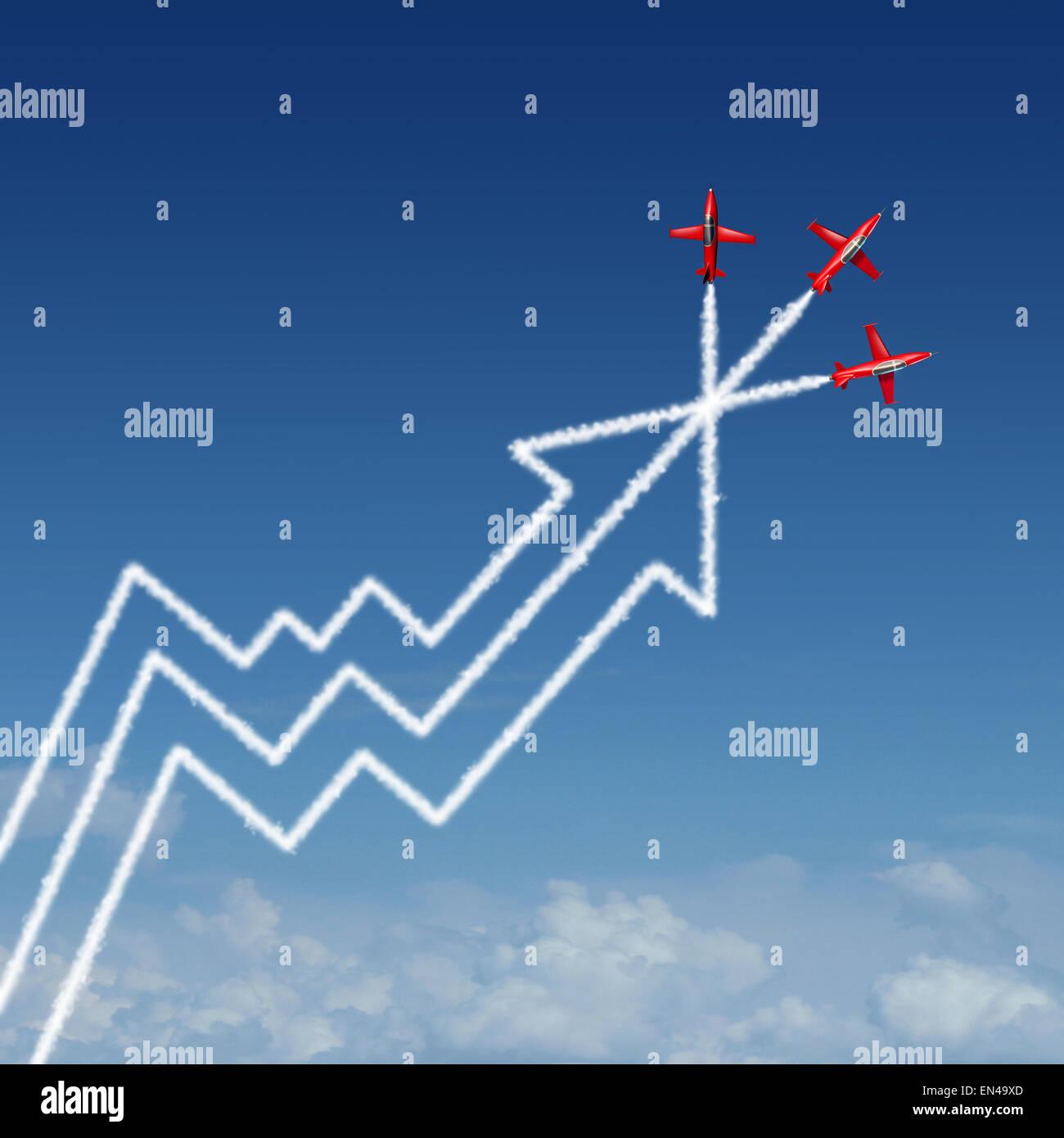 Rendement financier Rapport annuel concept d'entreprise comme un groupe d'acrobatie du spectacle aérien Photo Stock