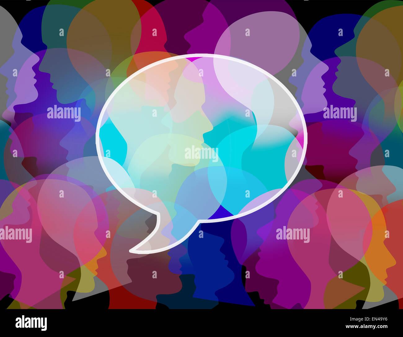 La foule des gens comme symbole d'un grand groupe public sous forme d'une conférence ou bulle de chat sous la forme d'une icône pour la société et de la population de la communication et les médias sociaux la discussion. Banque D'Images