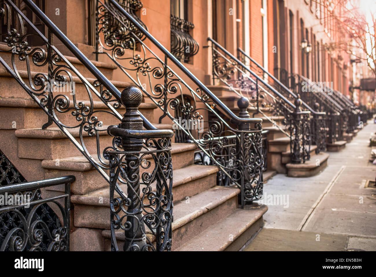 Appartement Brownstone étapes dans le quartier de Chelsea, New York City. Photo Stock