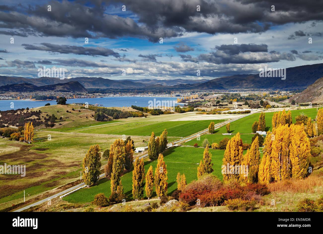 Lake Wanaka, vue depuis le mont Roys, île du Sud, Nouvelle-Zélande Photo Stock