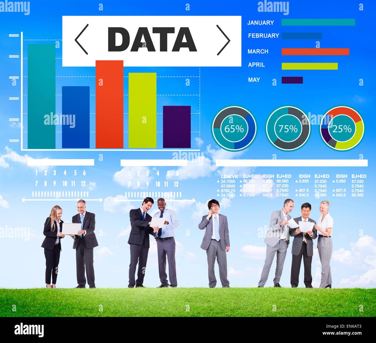 Tableau d'analyse de données statistiques sur le rendement de l'information Modèle Concept Photo Stock