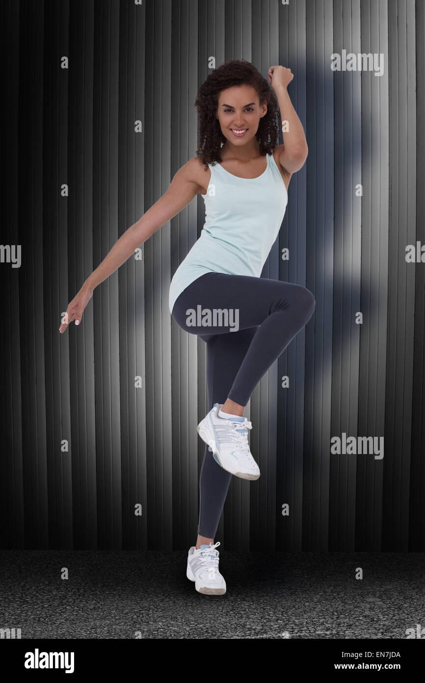 Image composite de fit femme l'exercice aérobie Photo Stock