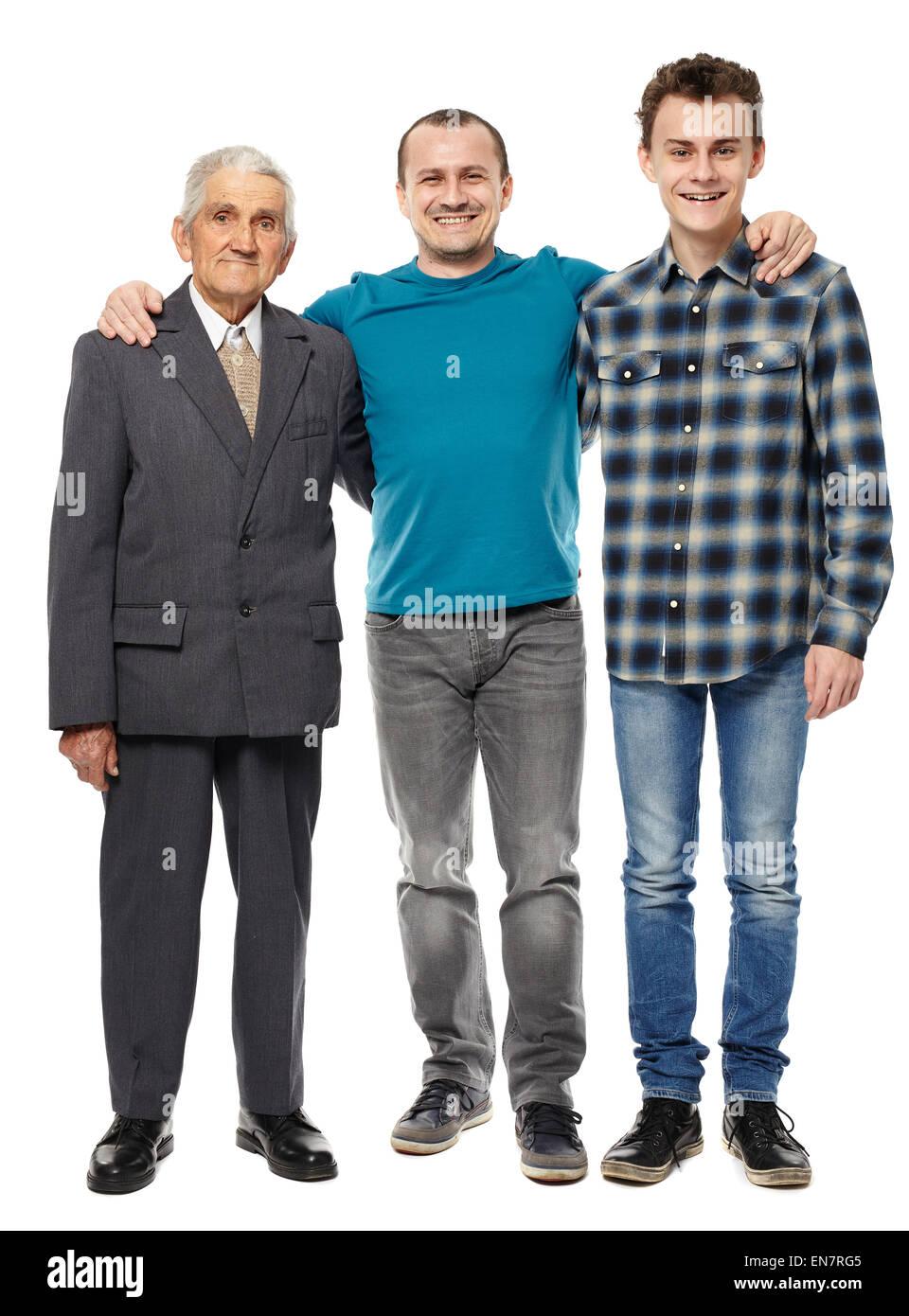Les générations d'hommes - grand-père, fils et petit-fils en pleine longueur portrait studio Photo Stock