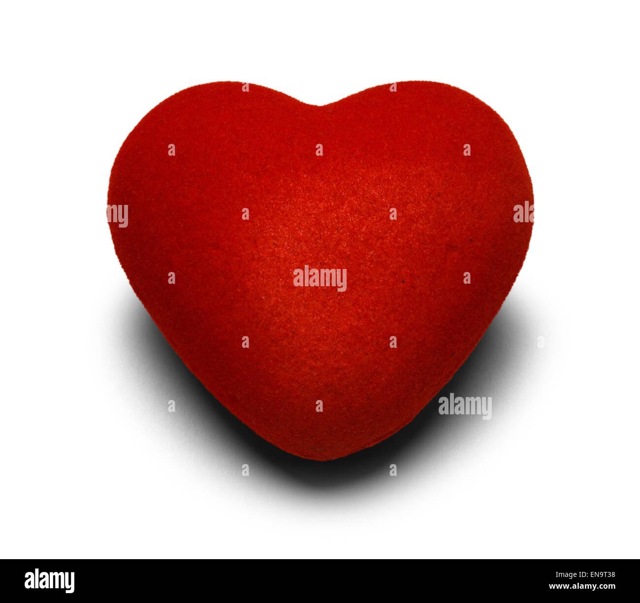 Coeur en tissu rouge isolé sur fond blanc. Photo Stock