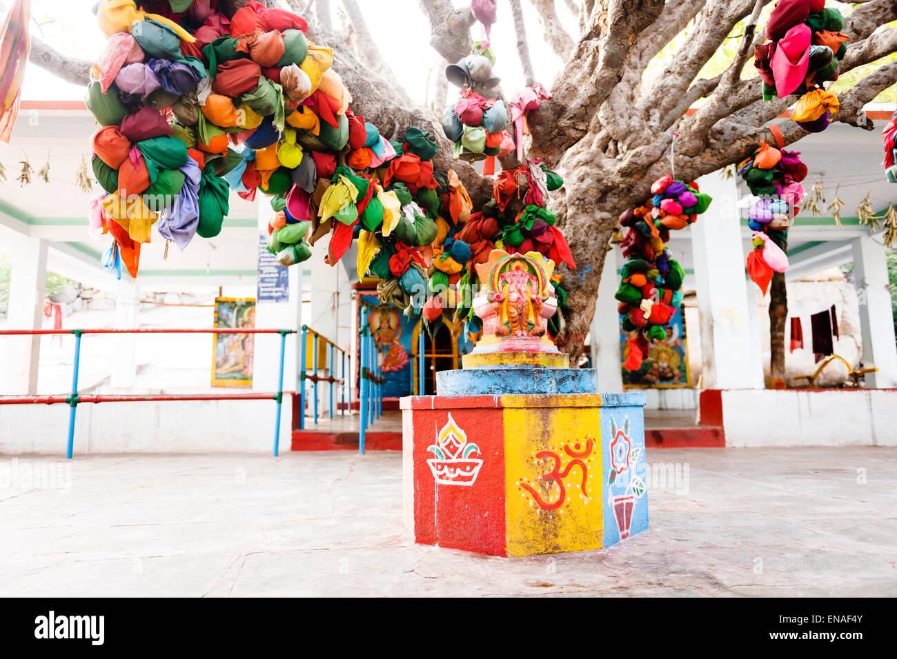 Arbre des désirs et de culte en Durgadevi Anegundi, Temple. Banque D'Images