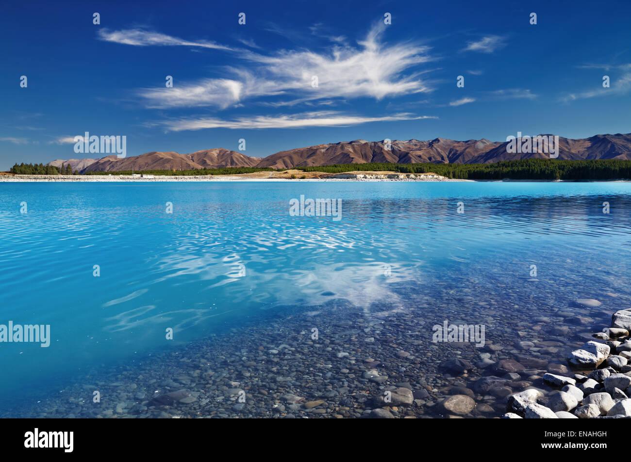 Le Lac Pukaki, île du Sud, Nouvelle-Zélande Photo Stock