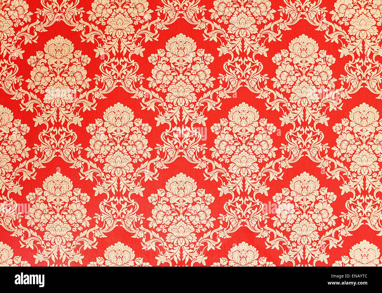 Papier Peint Vintage Rouge Avec Golden Rose Design Ornements