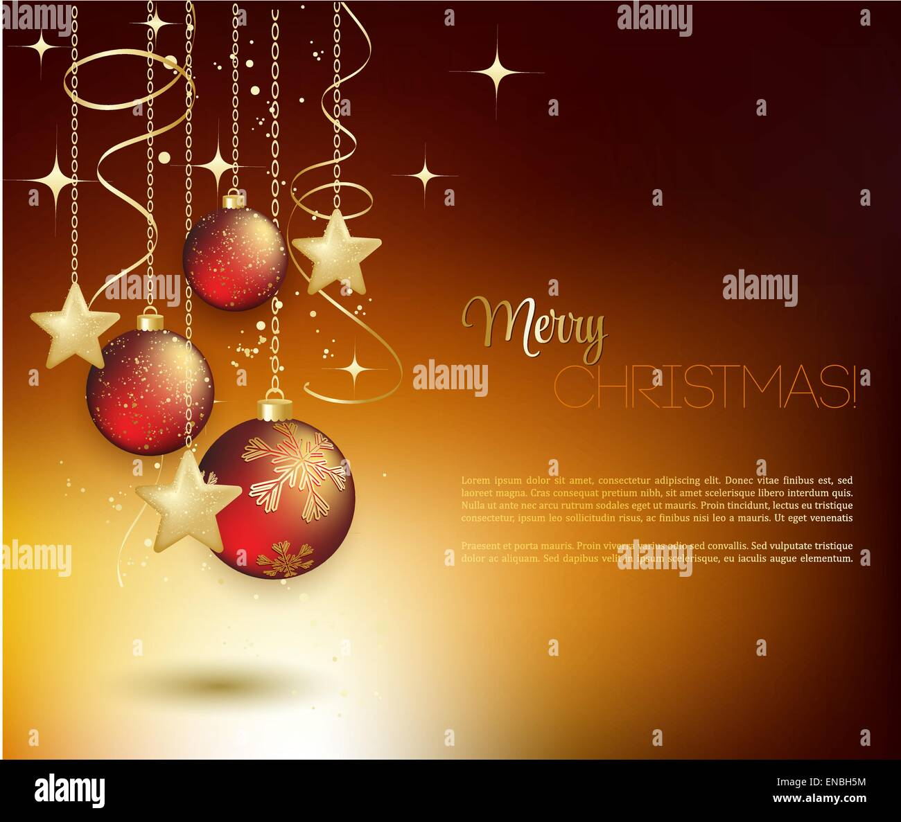 Joyeux Noel Techno.Joyeux Noel Carte Avec Babiole Rouge Vector Illustration
