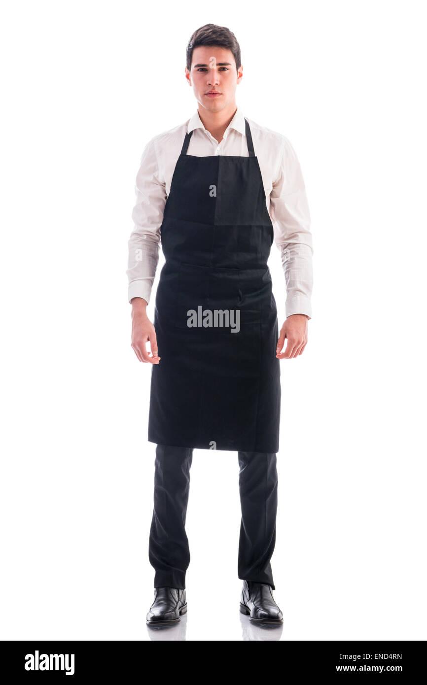 Longueur totale du jeune chef abattu ou serveur isolé pose Photo Stock