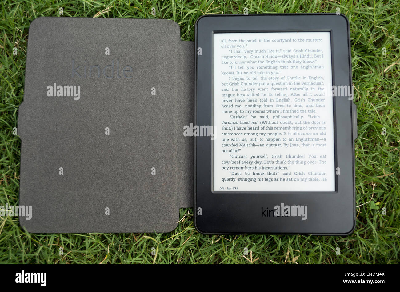 Amazon Kindle e-Book Reader sur l'herbe Photo Stock