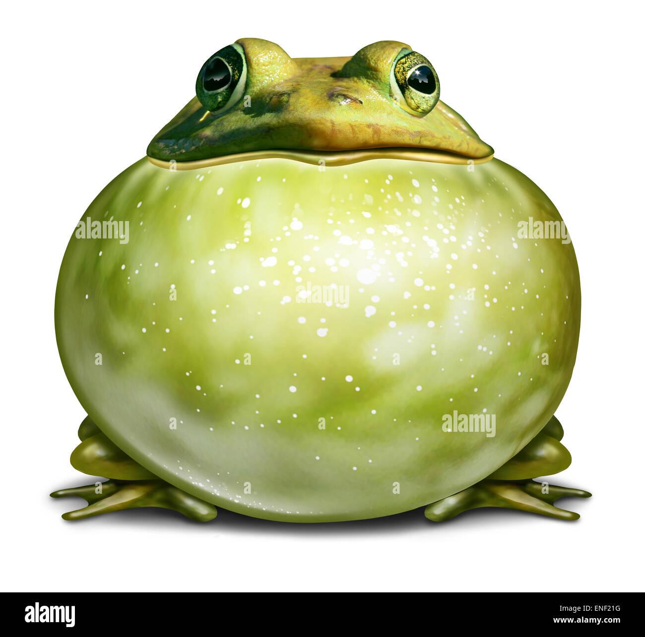 Environnement sain comme symbole une grenouille verte avec une gorge Gonflée comme un concept écologique Photo Stock