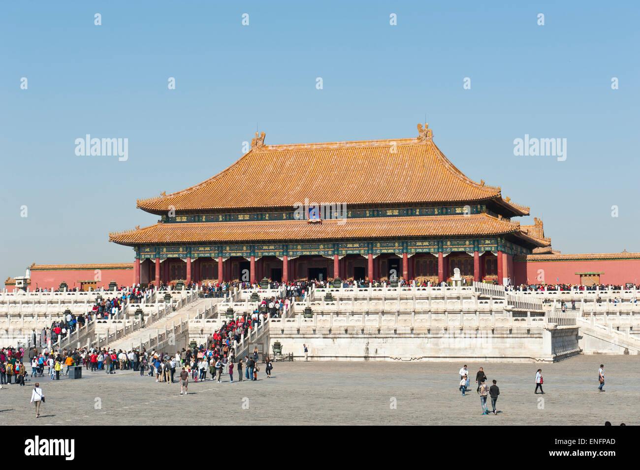 Salle de l'harmonie suprême, la Cité Interdite, Le Palais de l'empereur, Beijing, République Photo Stock