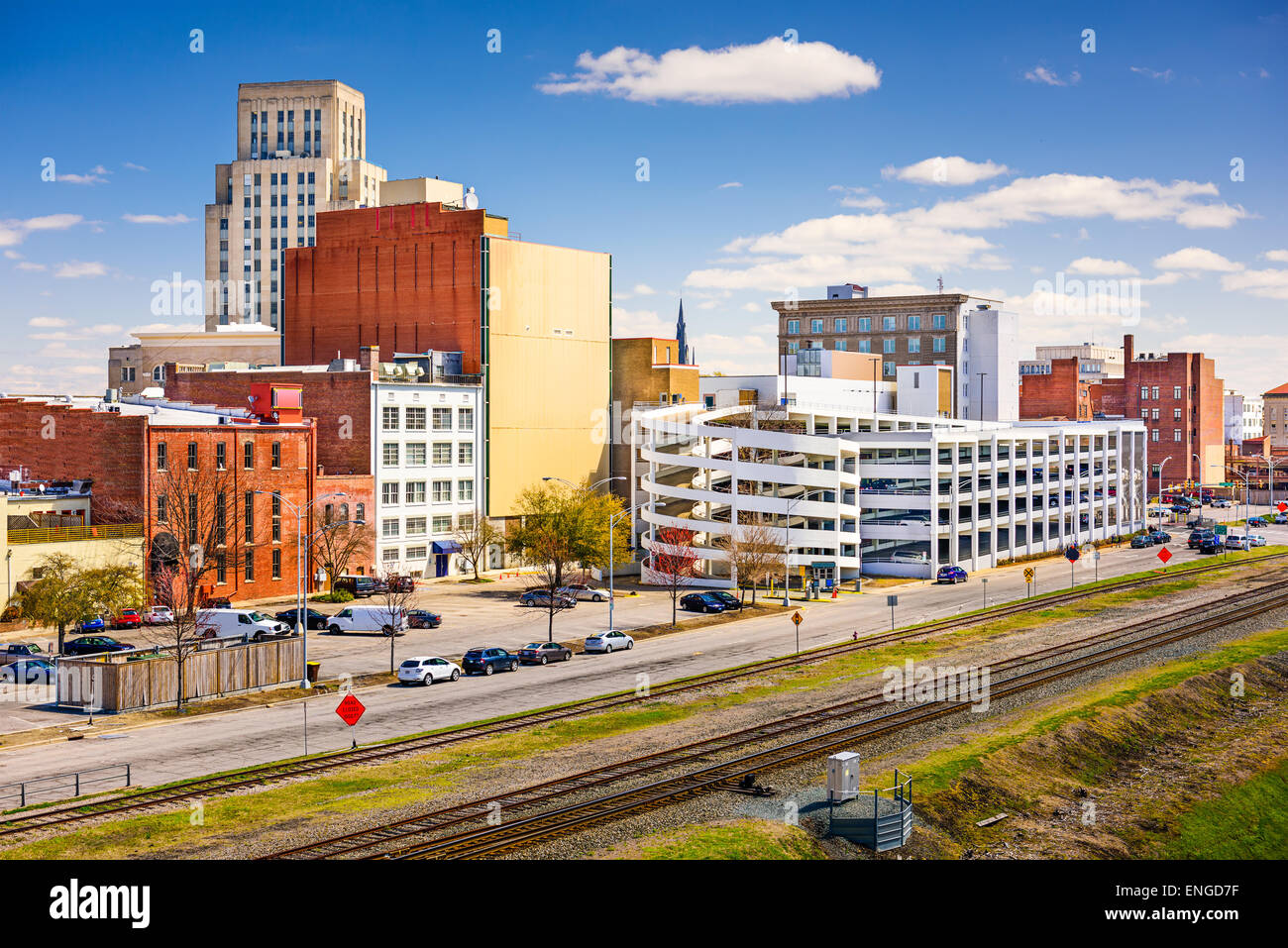 Durham, North Carolina, USA Centre-ville paysage urbain. Photo Stock