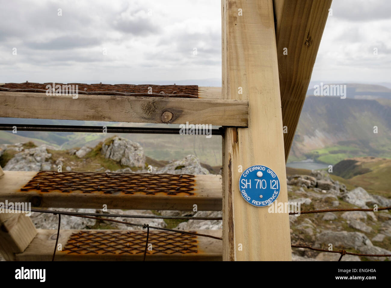 Grille de référence à six chiffres sur disque Minffordd Cadair Idris chemin montant sur la sécurité Photo Stock