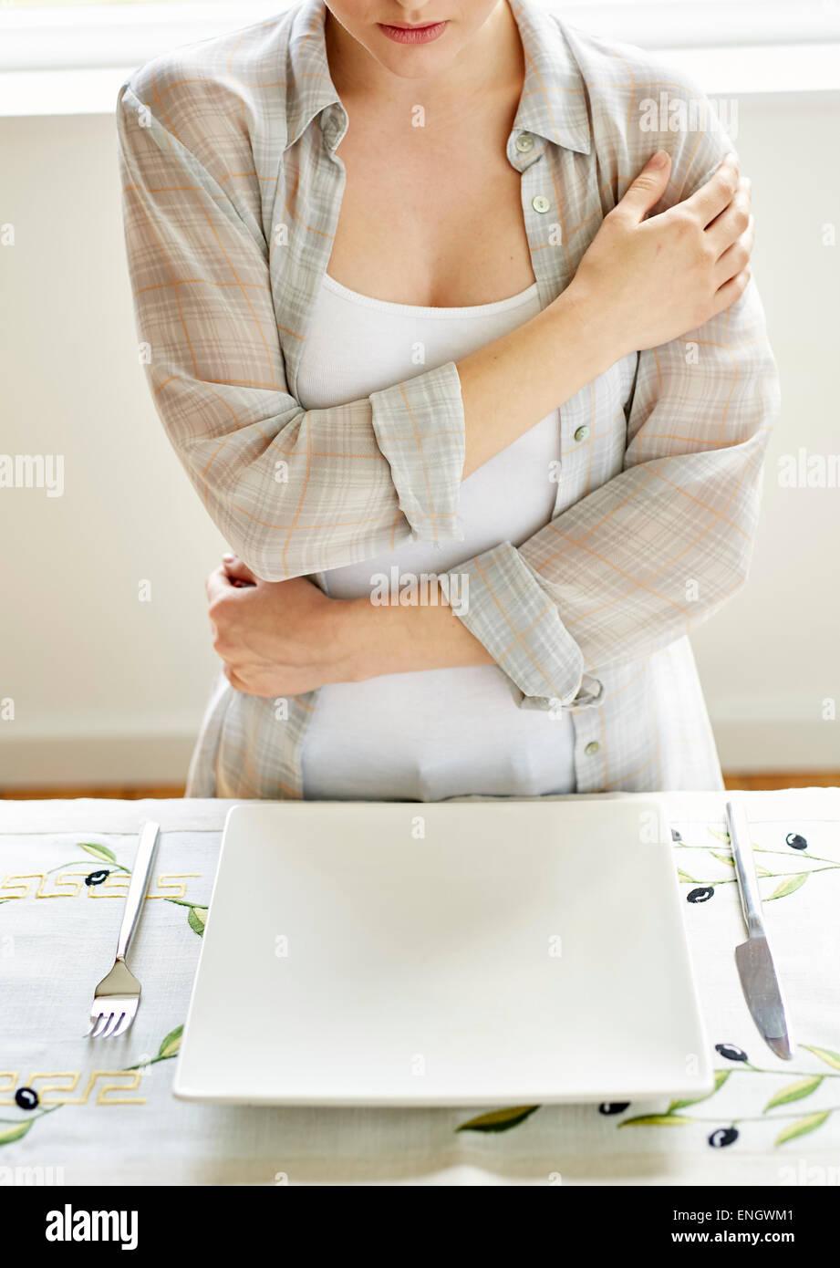 Femme refusant la nourriture Photo Stock