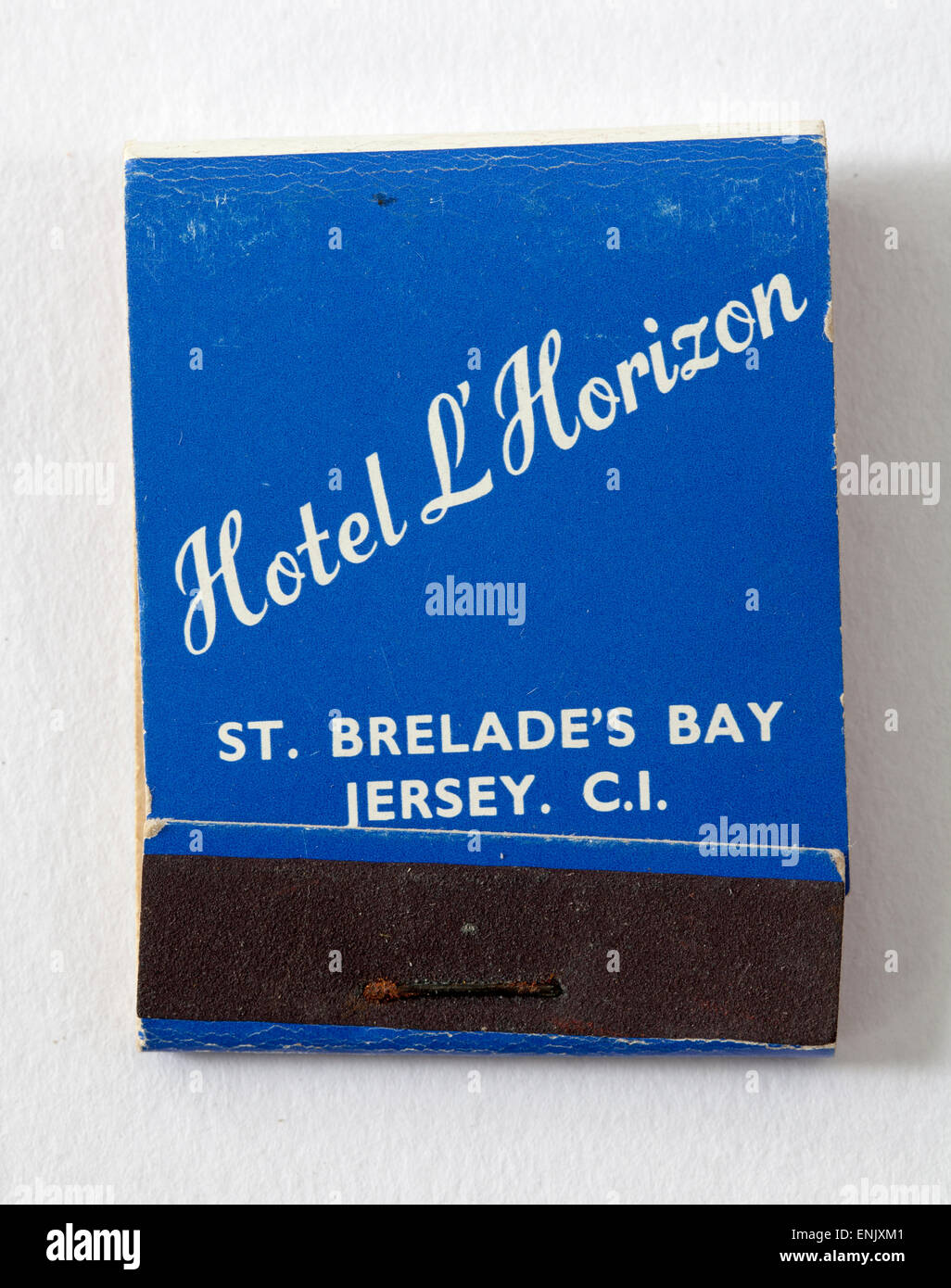 La publicité d'Allumettes Vintage Hotel L'Horizon St Brelades Bay Jersey Channel Islands Photo Stock