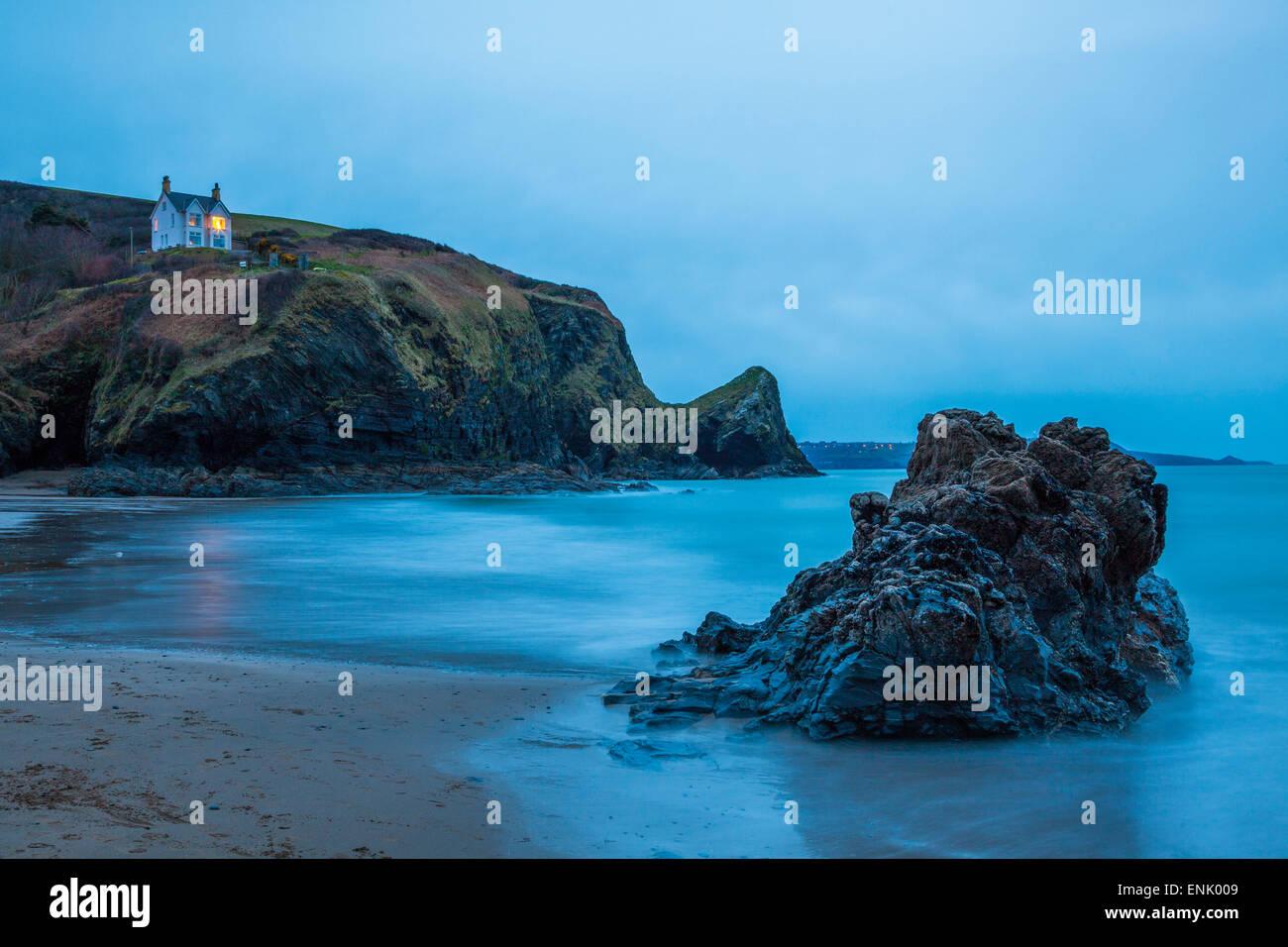 Plage de Llangrannog, Ceredigion (Cardigan), l'ouest du pays de Galles, Pays de Galles, Royaume-Uni, Europe Photo Stock