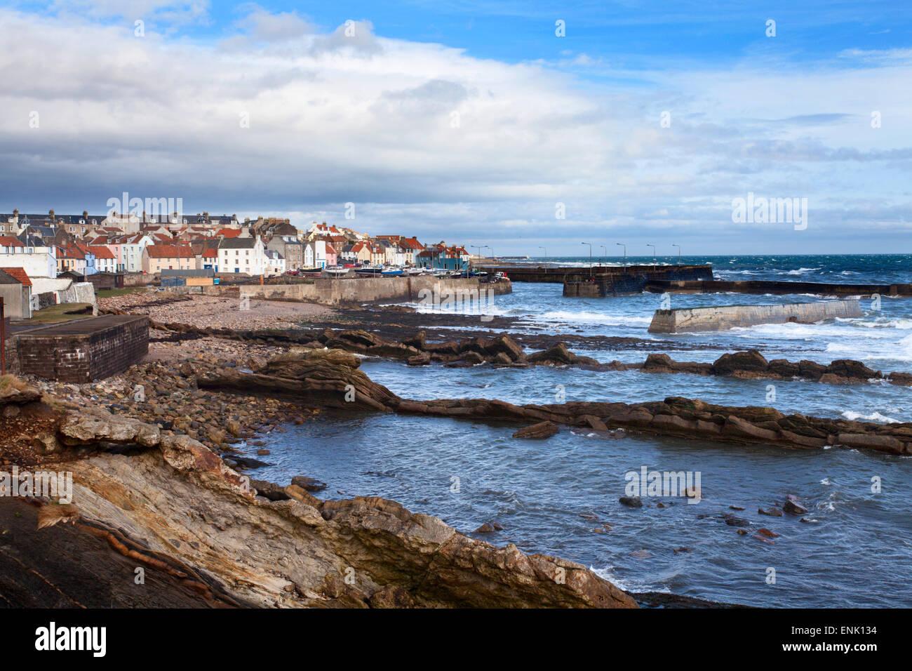 Saint Monans village de pêcheurs et port de la côte de Fife, Fife, Scotland, Royaume-Uni, Europe Photo Stock