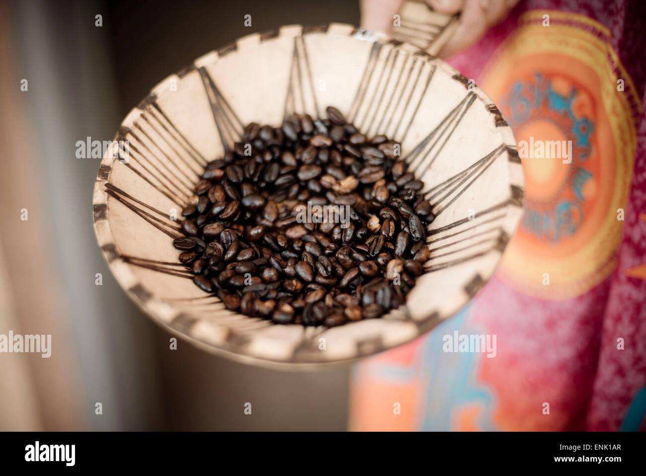 Les grains de café, vallée de l'Omo, Ethiopie, Afrique Photo Stock