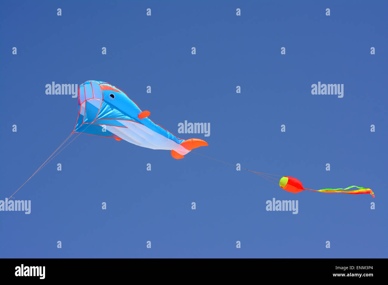 En forme de baleine coloré Kite planer dans le ciel bleu Photo Stock