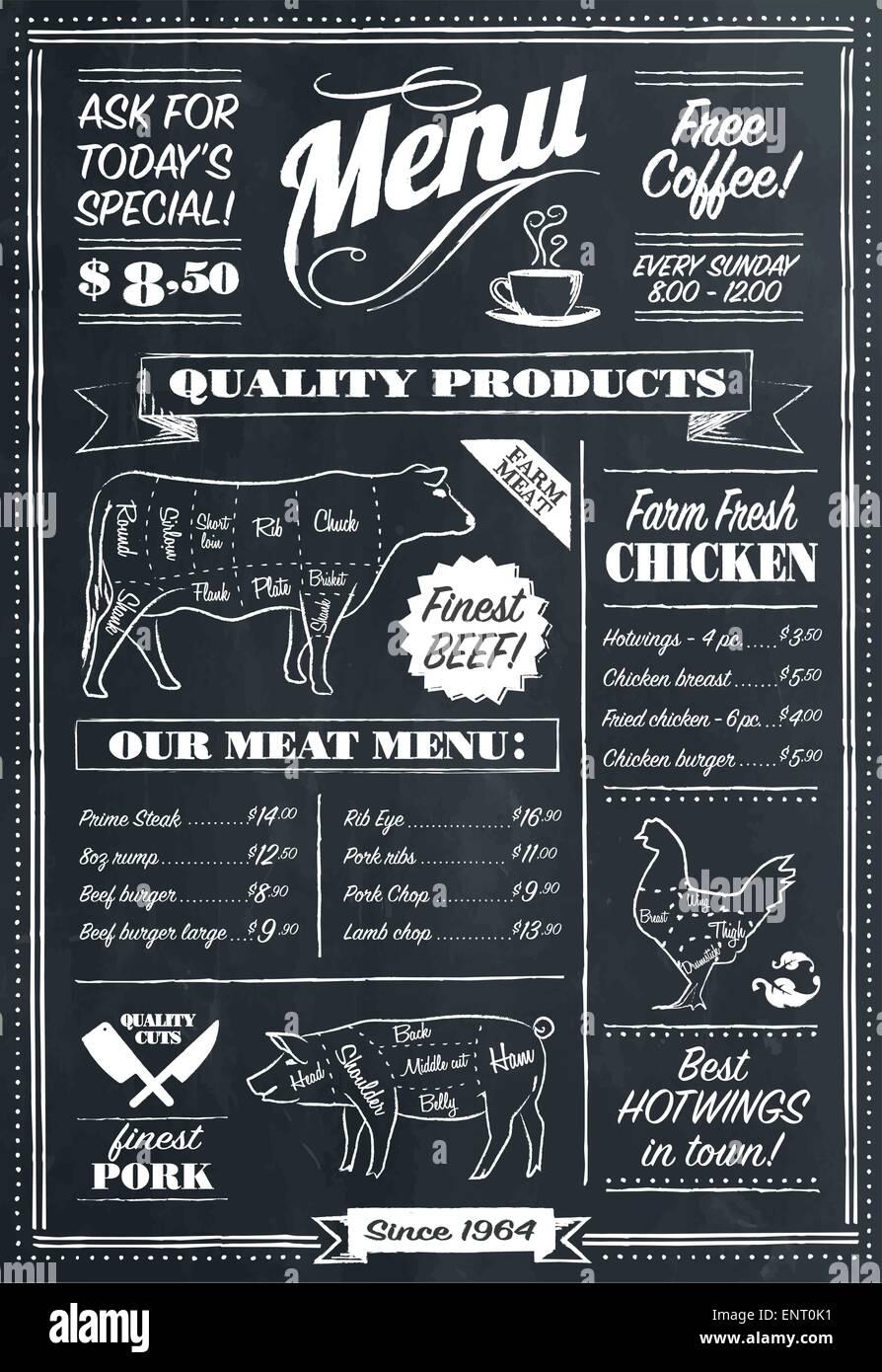 Vector restaurant menu tableau retro style Illustration de Vecteur
