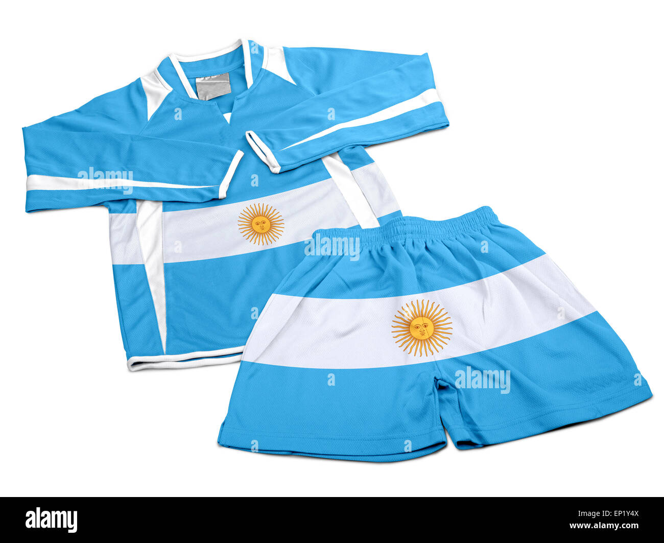D'un drapeau de l'Argentine sur le nylon polyester sportswear Football Short and Sweet shirt isolé Photo Stock