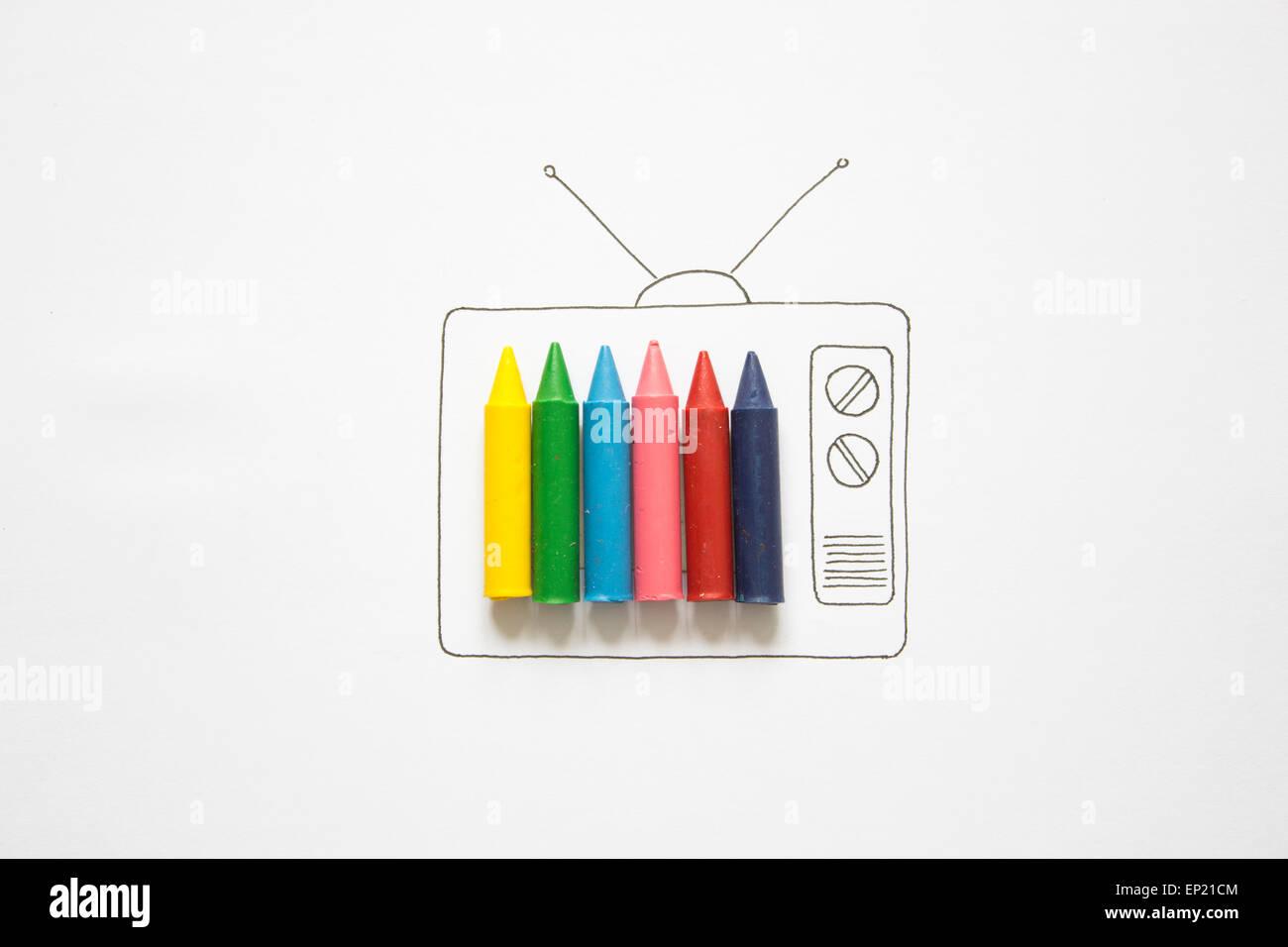Télévision couleur conceptuel Photo Stock