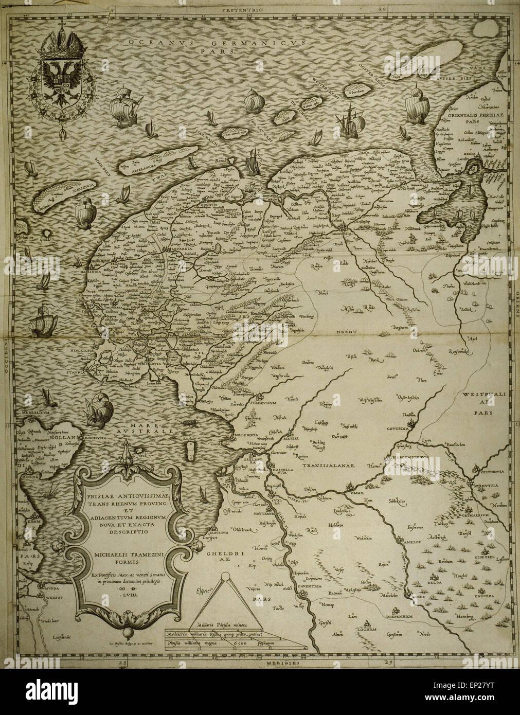 La frise. Carte de l'Amérique des Pays-Bas. Faites par Tramezini Michaelis, 1558. Imprimé par Iacobus Photo Stock