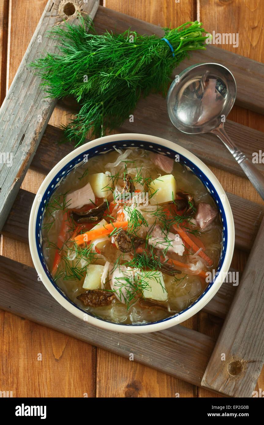 Shchi. Fédération de la soupe aux choux Photo Stock