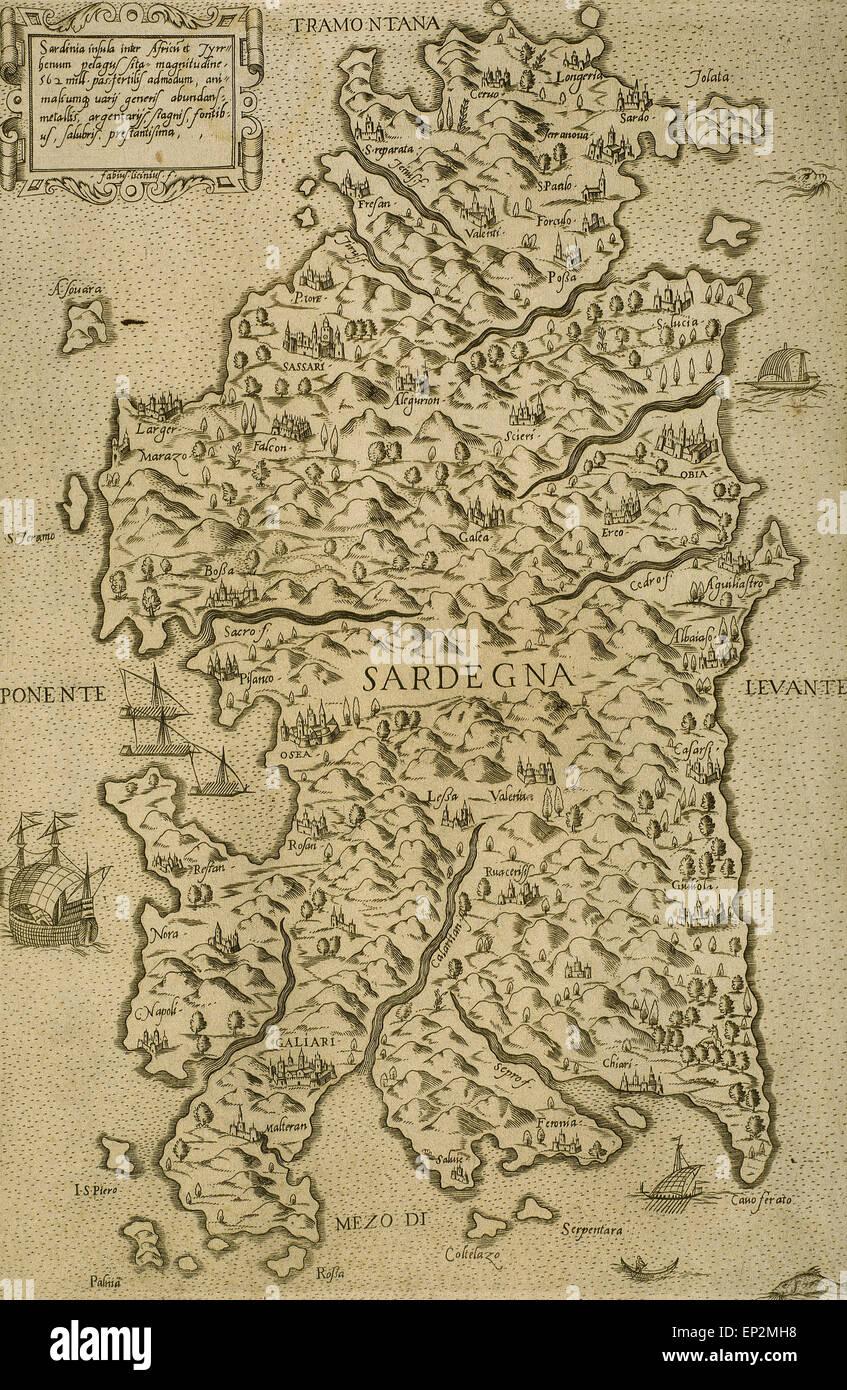 La carte de la Sardaigne. Mer Méditerranée. Gravure italienne. 16e siècle. Photo Stock