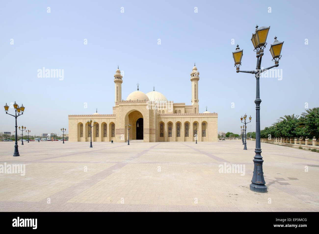 Vue extérieure de la grande mosquée Al Fateh au Royaume de Bahreïn Photo Stock
