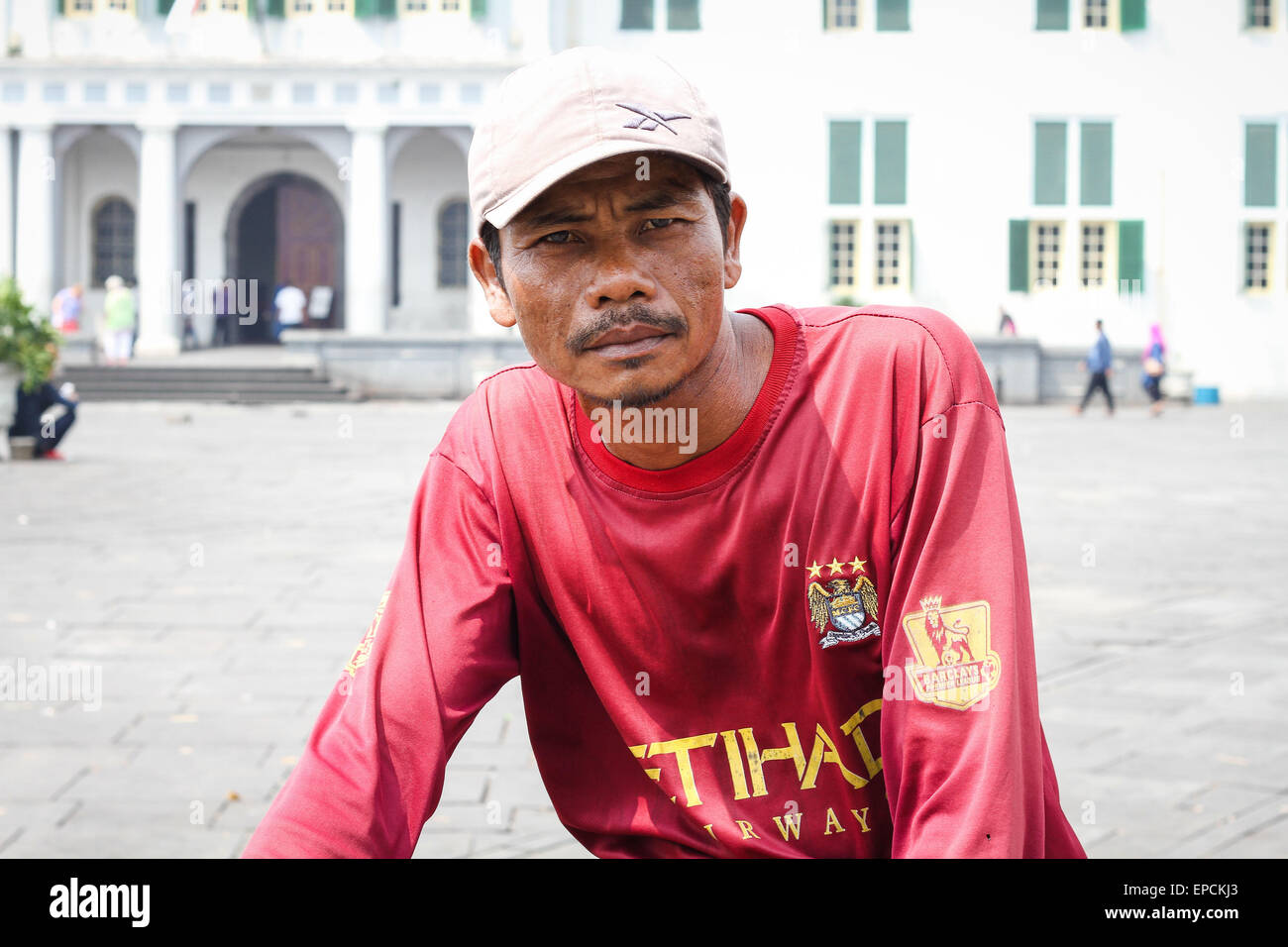 "Heri (43 ans) de Demak, Central Java. Il s'agit d'un vélo taxi rider, localement appelé ""ojek Photo Stock"