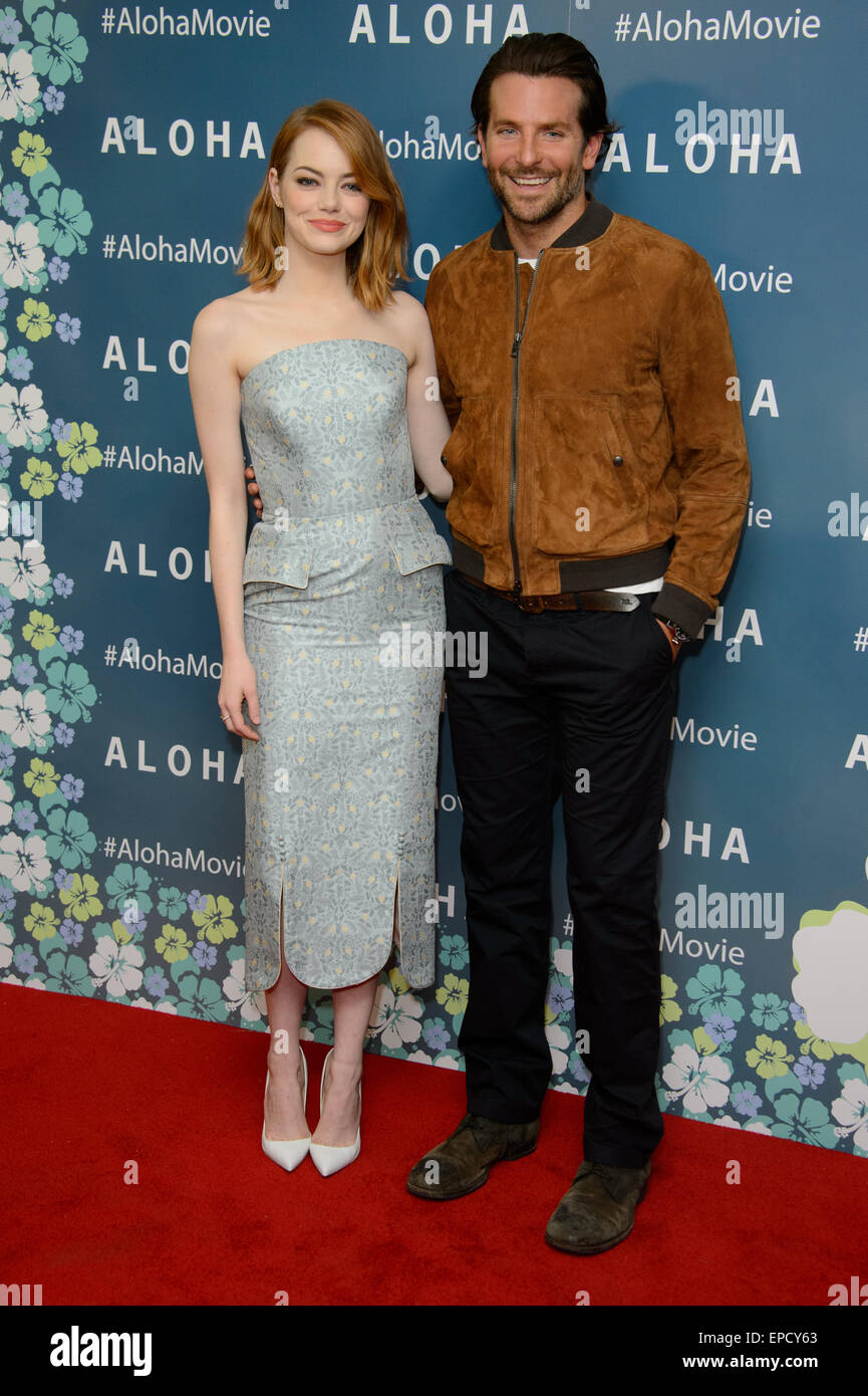 Emma Stone et Bradley Cooper arrivent à l'UK premiere de l'Aloha, Londres. Photo Stock