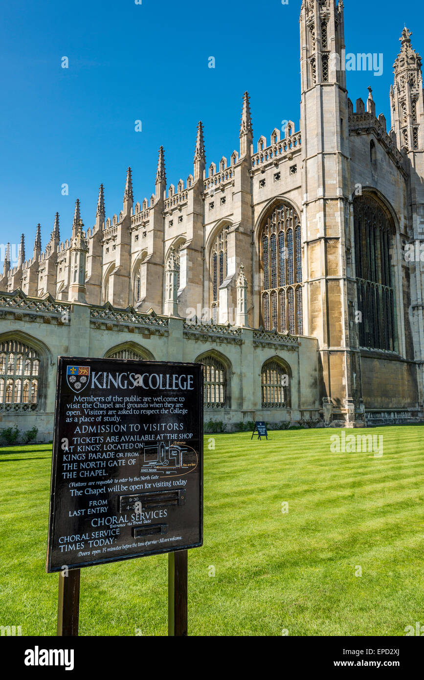 L'avant de King's College, dont la célèbre chapelle. King est un des collèges de l'Université Photo Stock