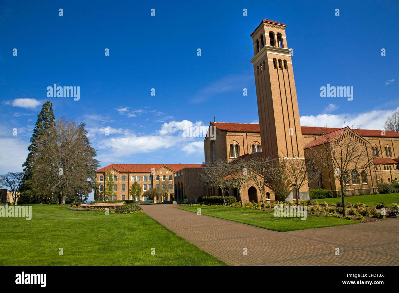 Le Mont Angel monastère bénédictin et Semminary, fondée en 1882 par des moines bénédictins Photo Stock