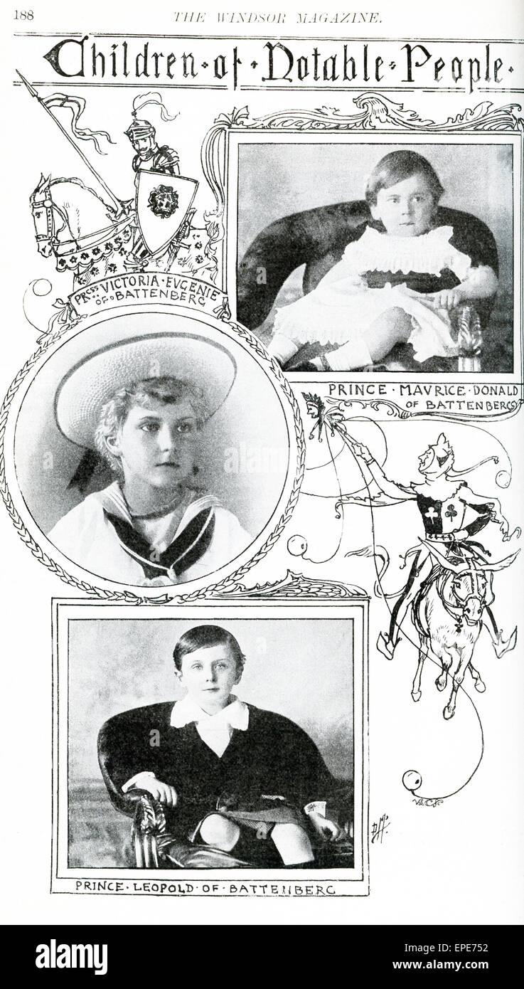 On voit ici les enfants: Prince Maurice Donald de Battenberg (1891-1914) était le plus jeune fils de Photo Stock