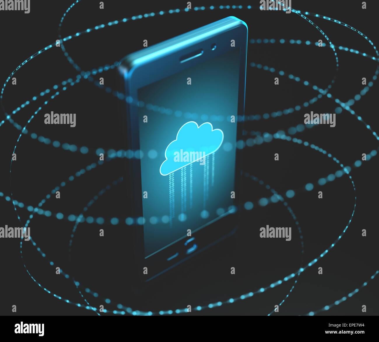 L'information binaire tournant autour du téléphone mobile. Photo Stock