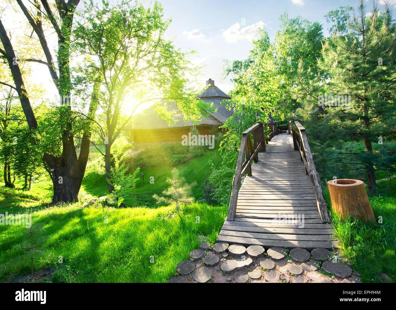 Maison de log et pont dans Green Park Banque D'Images
